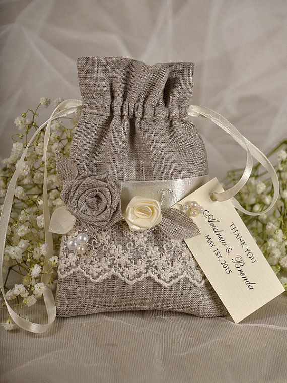 Natural Rustic Linen Wedding Favor Bag with by DecorisWedding, $3.50