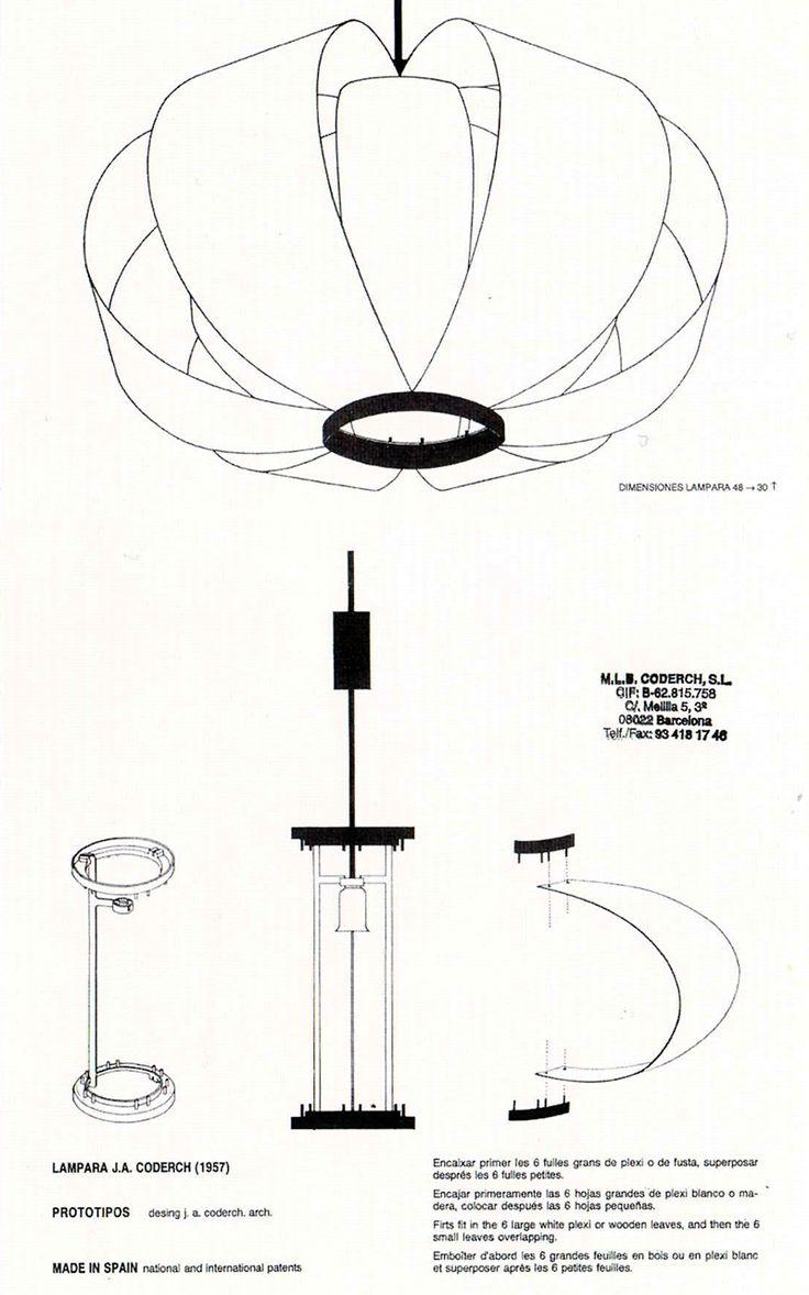 Lámpara DISA. Jose Antonio Coderch. 1954. Lamas de madera. 30x48cm