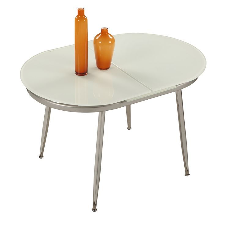 Chintaly Imports DONNA DT Donna Extendable Dining Table In Chrome White Painted Glass