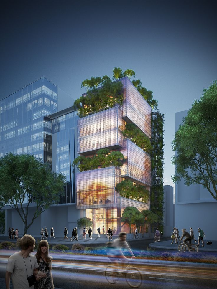 Image 1 of 10 from gallery of VTN Architects Design Stacked Glass Block Headquarters in Ho Chi Minh City. Exterior Night View. Image Courtesy of VTN Architects