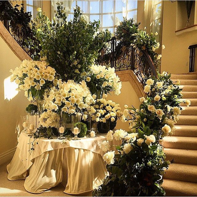 Stairway Decorated With White Tulle And Red Silk Roses: Guest Descended This Grand Staircase To The Reception