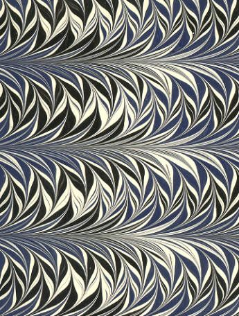 Modern 20th c. marbled paper, Fern pattern :: Decorated Papers