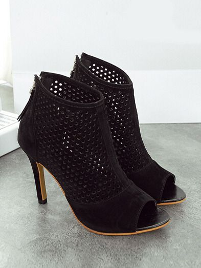 Black High Heel Hollow Peep Toe Pumps 34.33