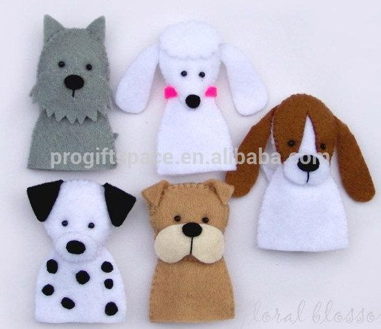 Felt Dog Toy Finger Puppets Photo only