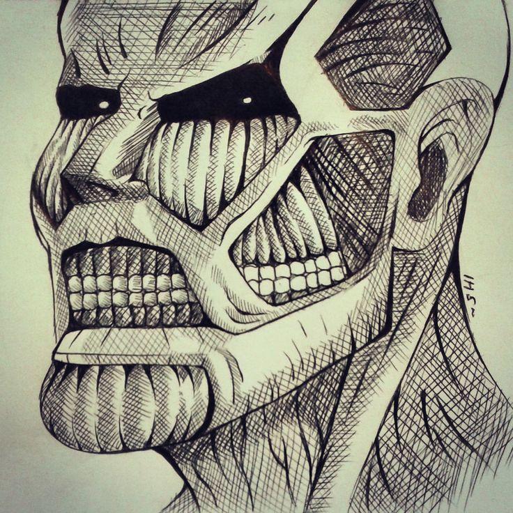 I see you BITCH!!!~ #Titan #ShinjekiNoKyojin #Snk #die #death  #draw #drawing #attackontitan #chiaroscuri #manga #bored #boring #graphic #pen #bertold #hoover #bertoldhoover #colossal #colossaltitan #sketch