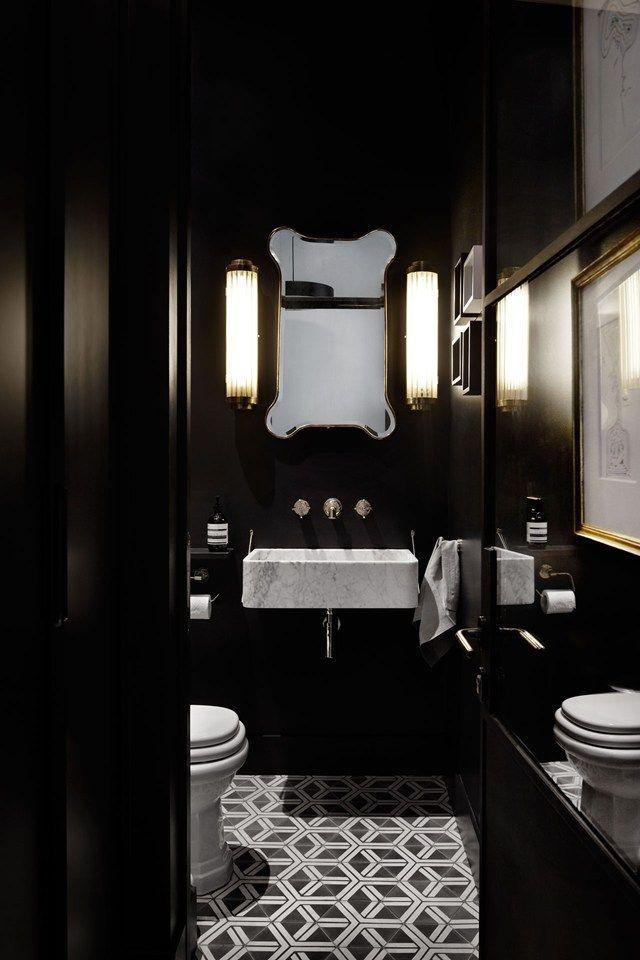 A Townhouse Thatu0027s A Vision Of Mid Century U0026 Monochrome. Dark  BathroomsBathroom SmallDesign ...