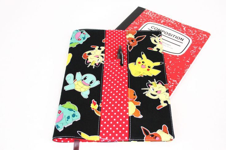 Pokemon composition notebook cover, back to school notebook, fabric journal cover, school comp notebook cover, book cover, school supply