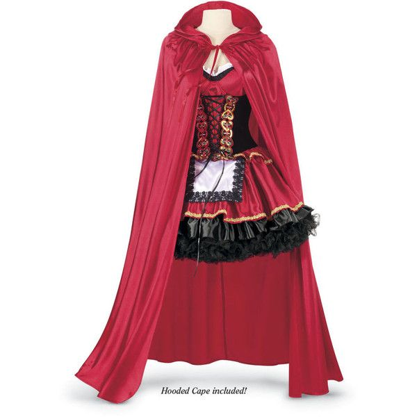 Red Riding Hood Ensemble ($80) ❤ liked on Polyvore featuring costumes, dresses, fairy halloween costume, fancy halloween costumes, gothic red riding hood costume, celtic renaissance costumes and red costumes