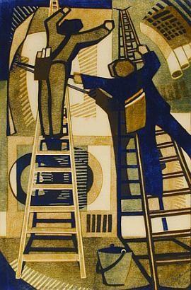 ✦ lill tschudi - 'pasting up posters' - 1933 - linocut