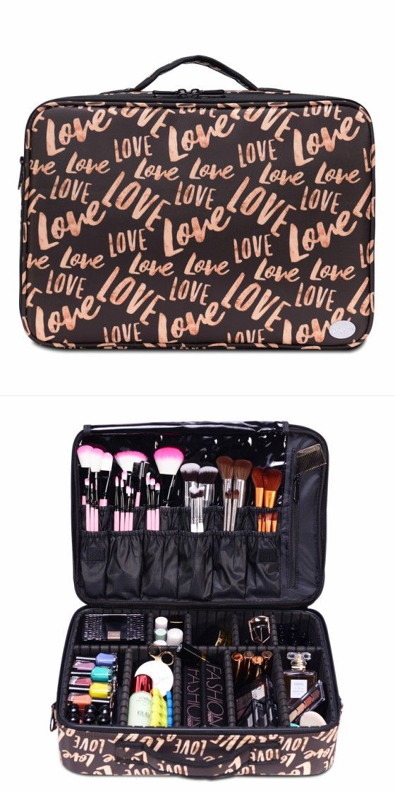 Brown Love Print Portable Large Travel Oxford Soft Makeup Bag Joligarce With Brush Compa Organization Ideas Case Vanity