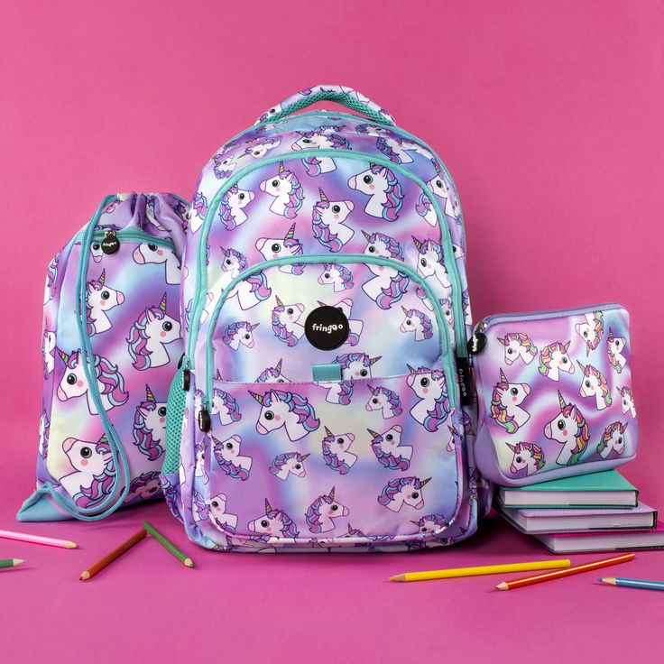 Unicorn backpack, pencil case and drawstring bag. Unique and super adorable gift for any unicorn lover.