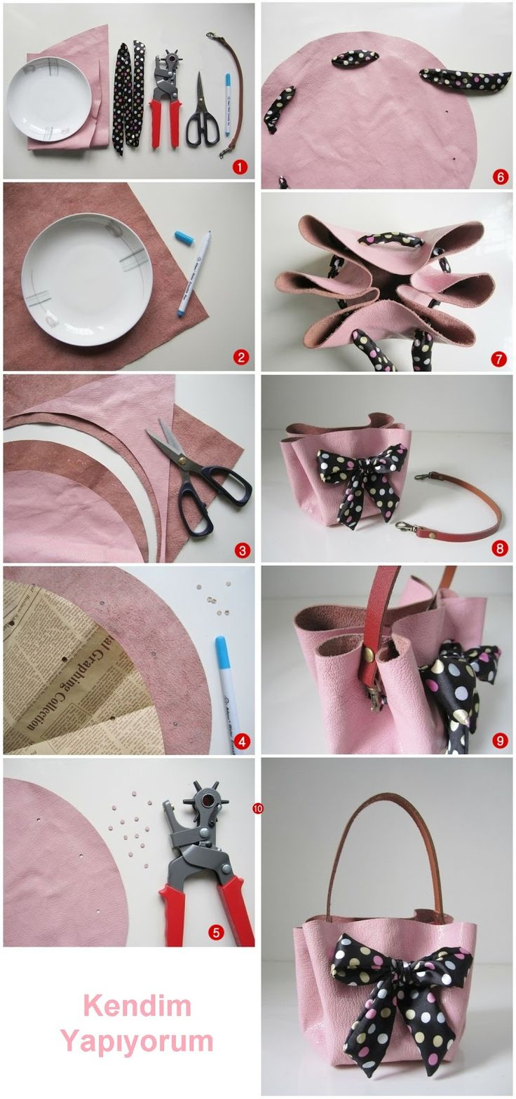 Bu harika çantayı Kendim Yapıyorum! Çünkü kendin yaptığın çantan en değerlisi olur.   Malzemeler: Pembe ya da başka renkte deri p...