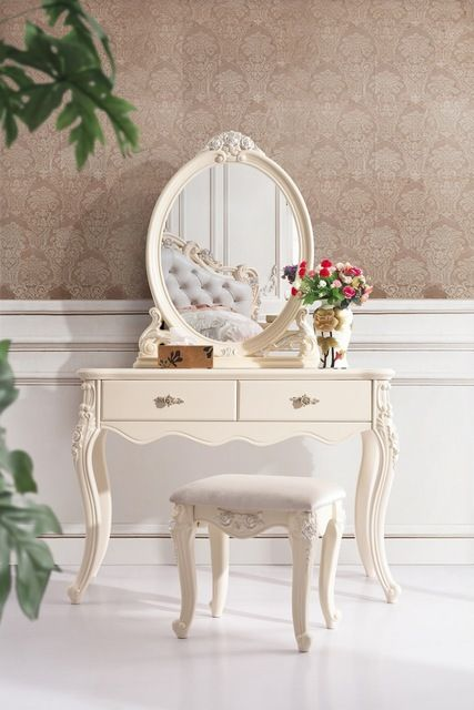 high class european style dressing table/dresser with dressing stool/chair white hand-carved solid wood bedroom furniture