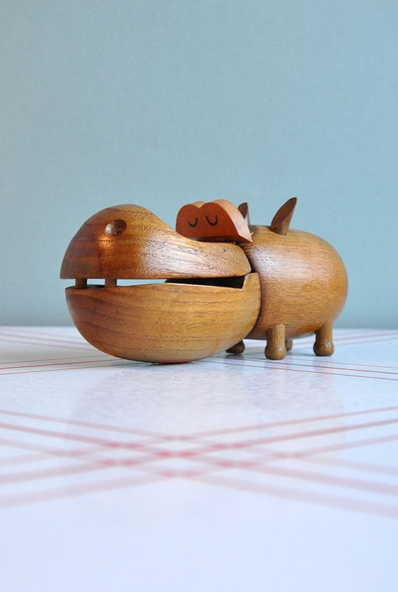 Vintage wooden hippo