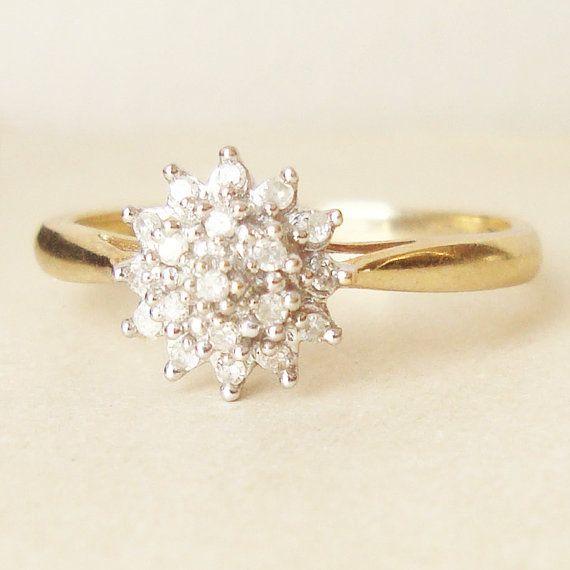 vintage engagement ring 9k gold diamond flower cluster ring flower cluster engagement ring 570x570