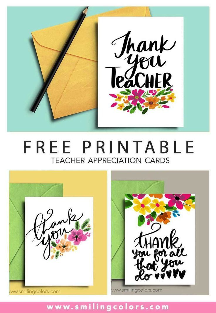 Thank You Teacher A Set Of 3 Free Printable Note Cards Smiling Colors Teacher Appreciation Cards Printable Note Cards Teacher Appreciation Printables