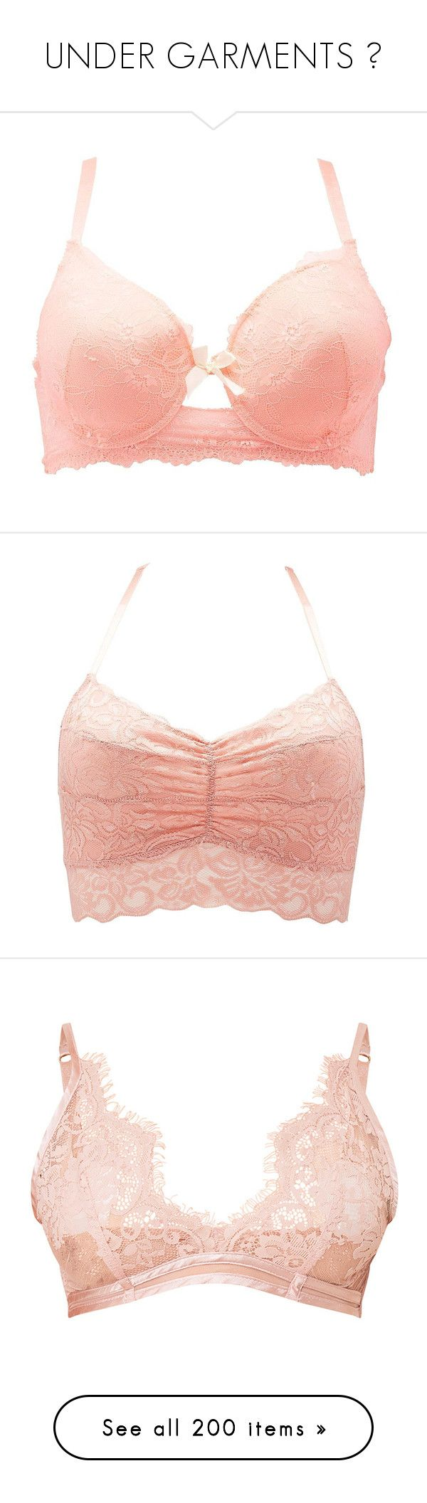 """UNDER GARMENTS "" by theonlydej ❤ liked on Polyvore featuring plus size women's fashion, plus size clothing, plus size intimates, plus size bras, bra, lingerie, peach, sheer underwire bra, women's plus size lingerie and sheer lace bra"