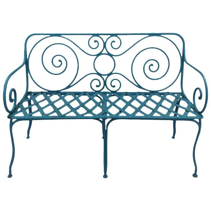 Hand-Forged Iron Garden Bench, Provence Region, France, 1920 1