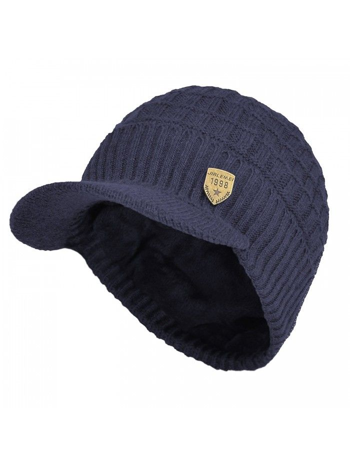 Sports Winter Outdoor Knit Visor Hat Billed Beanie With Brim Warm Fleece Lined For Men And Women Blue Cg187o4h39a Hats For Men Visor Hats Beanie
