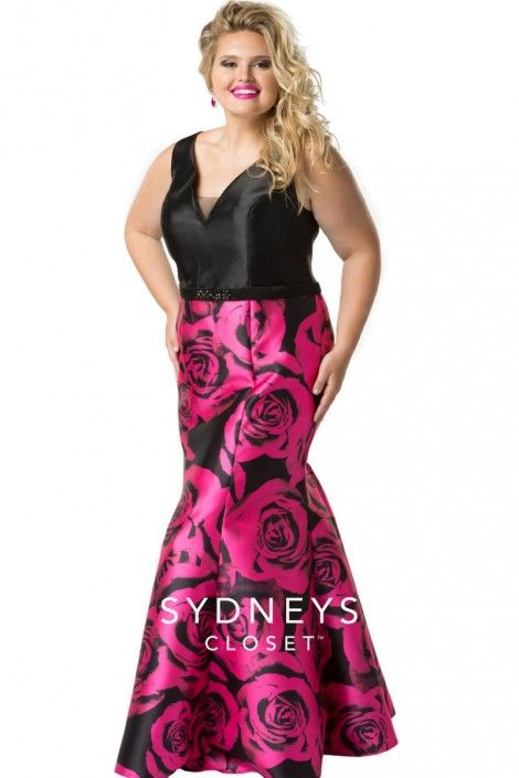 9a34783a161 Style SC7226 from Sydneys Closet is a plus size sleeveless V neck mermaid prom  gown in Mikado satin. This playful dress has solid bodice