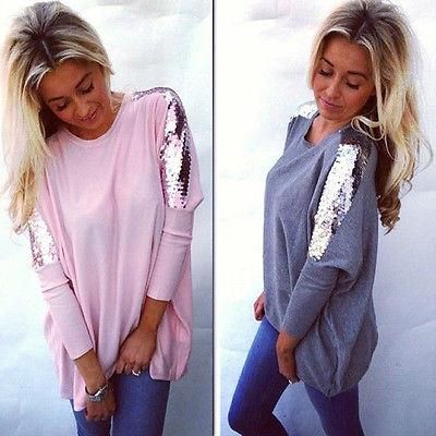 Women Hem Loose Long Sleeve Blouse Casual Solid Tunic Shirts Casual Tops