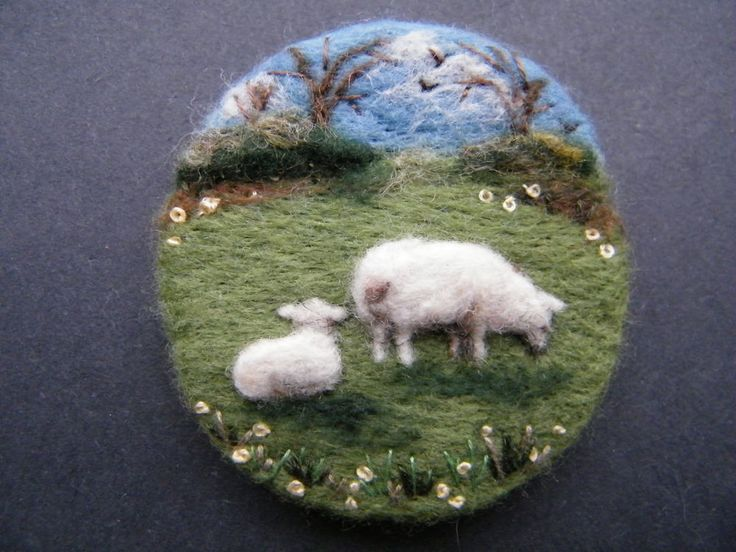 Hand Made Needle Felted Brooch/Gift First Lamb of Spring by Tracey Dunn