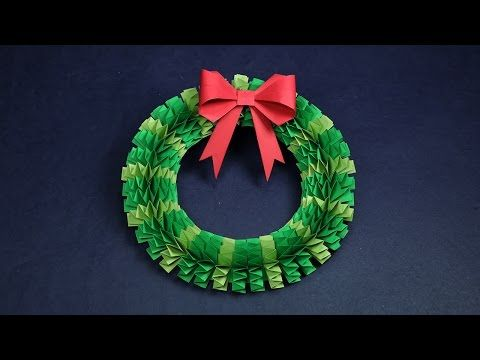 DIY Christmas Wreath   How to Make Accordion Paper Folding Wreath? - YouTube