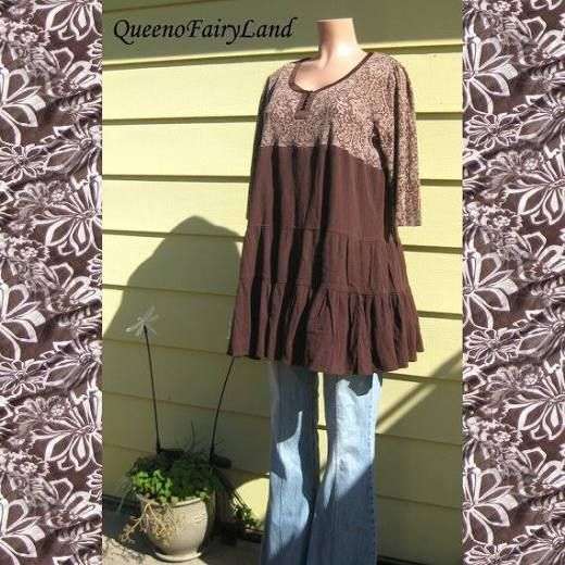 Up-cycled Plus Size Brown Baby Doll Tunic/Dress, Bust 42-46, Junk Gypsy Style, Boho, Altered Couture Tunic, ECO fashion, Hippie, Q310