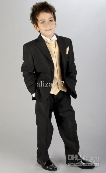 Boys Black & Gold Wedding Suit - little boy suit Shirt with a free of charge