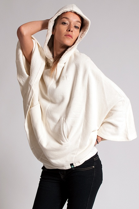 Ladies Furry Poncho - Hemp Organic Cotton eco designs