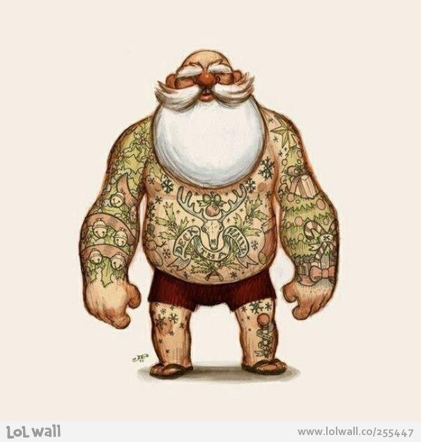 "I always suspected that Santa was a cool dude...now we all know. The belly tattoo says ""Deck the Hallz""  Love this!!!:"