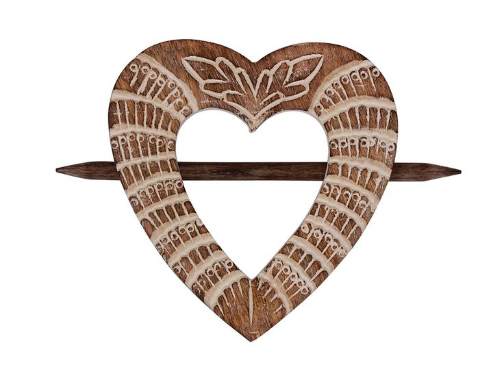 Raksha Bandhan Rakhi Gift For Sister Elegant Hand Carved Wooden Set of 2 Heart Shaped Decorative Pair Of Curtain Holder Tie Backs with Floral Details: Amazon.co.uk: Kitchen & Home