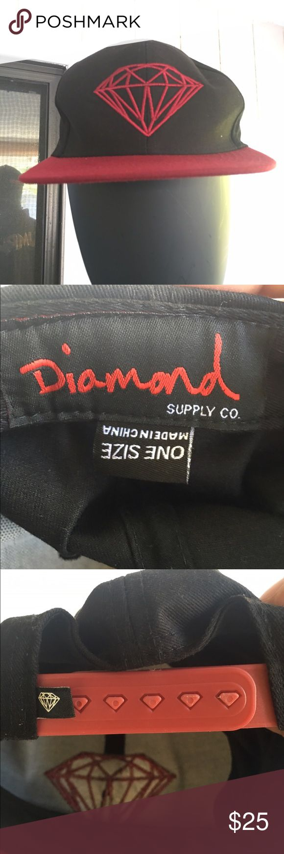 Diamond Supply Co Snapback Hip hop Black Red Hat Pre-Owned Diamond Supply Co Snapback Adjustable Baseball Cap Hip hop Black Red Hat Diamond Supply Co. Accessories Hats