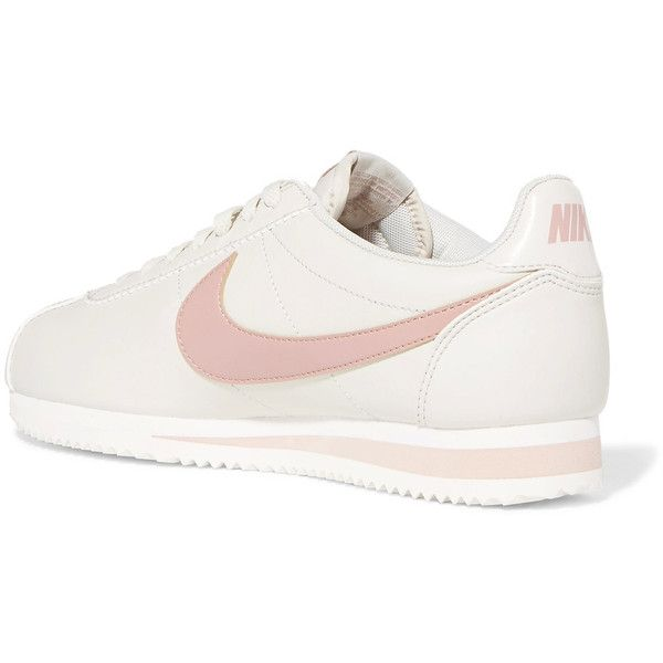 Nike Classic Cortez leather sneakers ($70) ❤ liked on Polyvore featuring shoes, sneakers, pastel sneakers, lace up sneakers, nike shoes, retro shoes and leather lace up sneakers