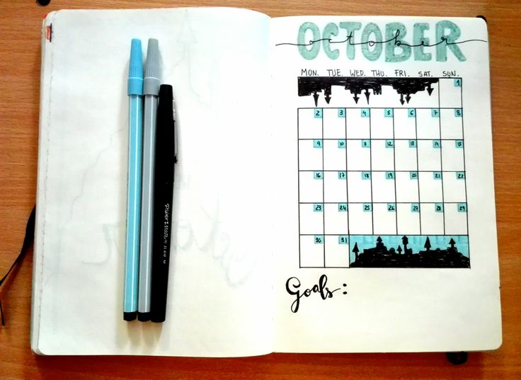 Bullet Journal PT - October17 - Plan with me - Month tracker layout - Halloween style