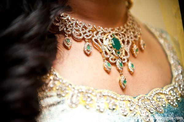 Pakistani bridal necklace with green gemstones.
