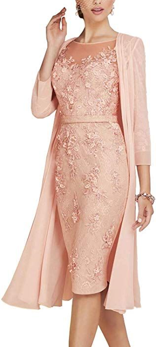 56b01c762e Newdeve Lace Mother of The Bride Dresses Tea Length Sheath 3 4 Sleeves with  Chiffon Jacket Dusty Pink at Amazon Women s Clothing store