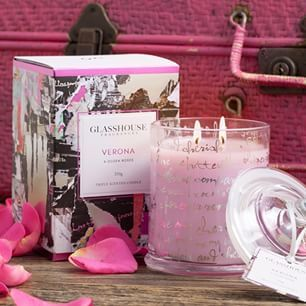 Do you start dropping hints before Valentines Day? Roses or candles or....this gorgeous Verona Glasshouse candle that smells like a dozen roses  #alfrescoemporium #islandemporium #candles