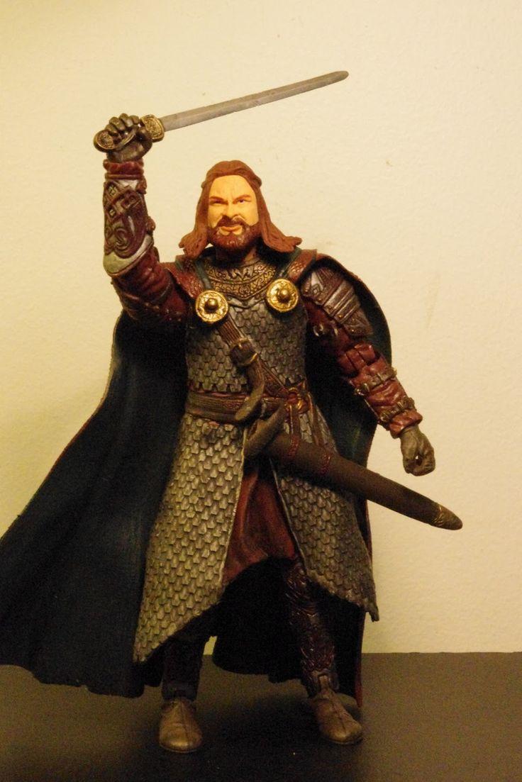 Na Boca Do Lobo: Hama, Grishnakh e King Theoden in armor, figuras de 'O Senhor dos Anéis'