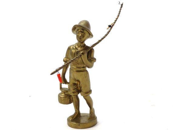 Fishing boy - Brass boy figurine - Boy with a fishing rod - Collectible brass boy figurine - Fisherman gift - Little boy fishing