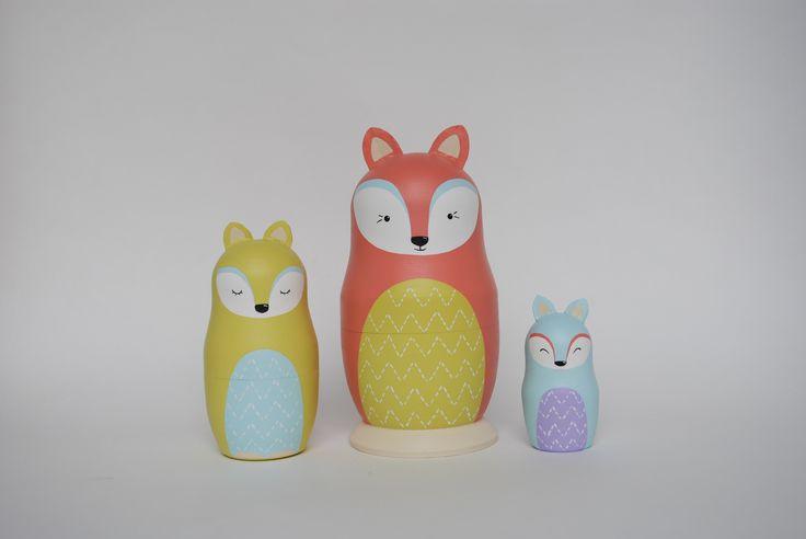 FURU fox set of matreshka dolls. Matryoshka. Nesting doll.