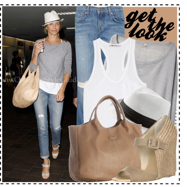Celeb Style: Cameron Diaz, created by ellize-back on Polyvore  (i'm not a fan of the fedora)