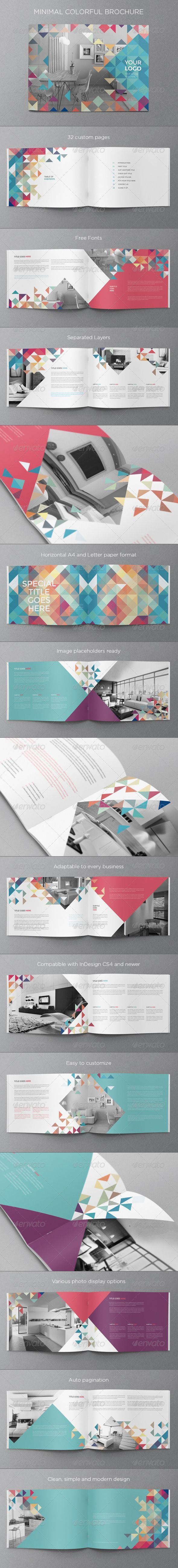 Minimal Colorful Brochure — InDesign INDD #colorful #professional • Available here → https://graphicriver.net/item/minimal-colorful-brochure/8232684?ref=pxcr