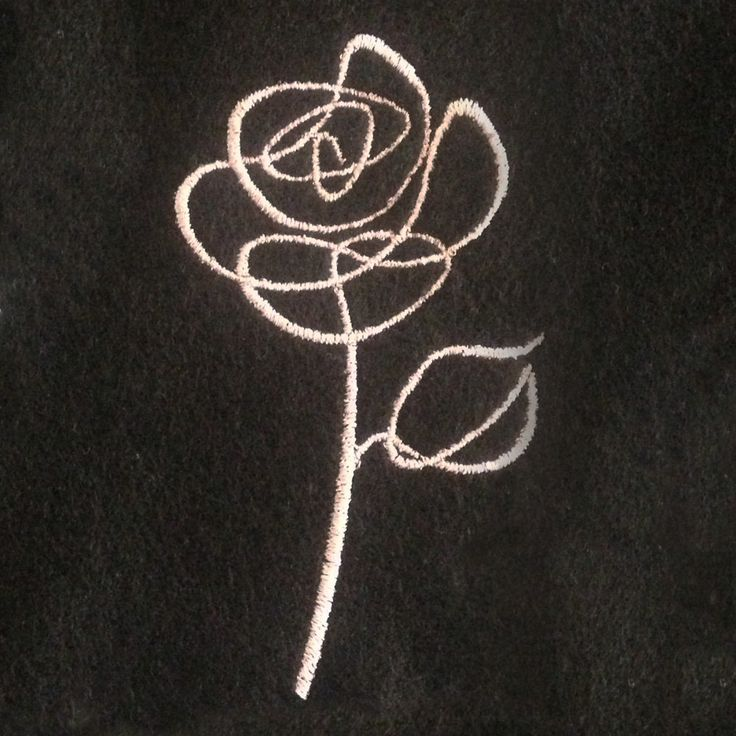 Abstract rose sketch outline machine embroidery design in five sizes.  Simple floral embroidery design. by MEmbroideryGeek on Etsy