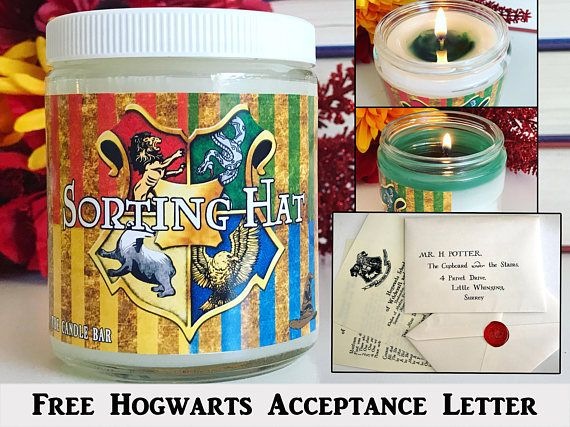 *EVERY Sorting Hat candle comes with a letter! Orders with multiple candles will receive the same amount of letters. :) Congratulations on being accepted into Hogwarts School of Witchcraft and Wizardry! Now its time to sort you into your house! Light the Sorting Hat candle and after