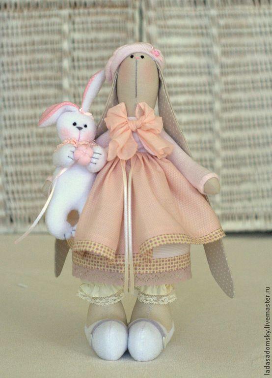 Купить Зайчишка Boni - 30 cм - бледно-розовый, пудровый, зайка, зайчик, тильда заяц