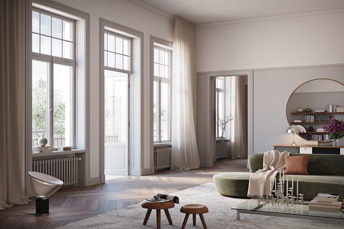 Yteffektiv 3:a om 87 kvm med stor balkong i söderläge. Generöst vardagsrum/kök i öppen planlösning, med utgång till balkongen. Två bra sovrum samt två badrum, varav det ena med badkar och det andra med dusch. Skräddarsydd design och genomgående högkvalitativa materialval. Oscar Properties konverterar denna vackra sekelskiftesfastighet till moderna bostäder mitt på Östermalm. Preliminärt tillträde är beräknat till Q1 2018. Bilderna är exempelbilder. Vänligen besök projekthemsidan för mer ...