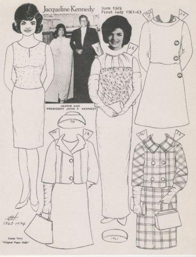 jackie kennedy 1974 paper doll ebay