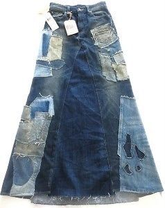 Ralph Lauren Denim Supply $225 Blue Distressed Patchwork Denim Skirt 25   eBay