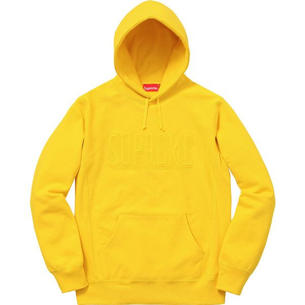 Supreme Embroidered Outline Hooded Sweatshirt ❤ liked on Polyvore featuring tops, hoodies, embroidered tops, hoodie top, embroidered hoodie, embroidered hooded sweatshirts and yellow hoodies